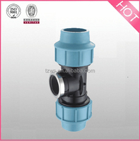 """HJ"" Plastic PP Compression Fittings female tee with steel ring"