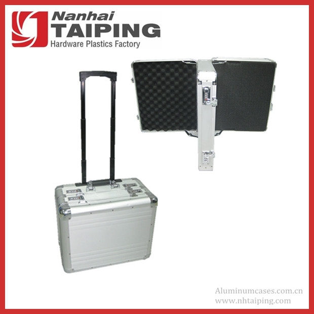 Double -sides Open Silver Aluminum Tool Trolley Case with Foam
