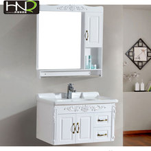 chinese supply HNQ antique plastic coating bathroom wash basin sink cabinet with mirror