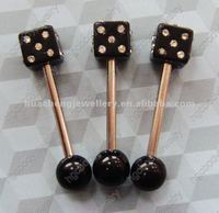 classic black color dice tongue rings body piercing jewelry