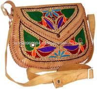 Hand Embroidered Ladies Leather Handbags