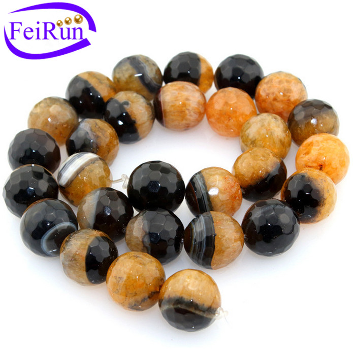 14 18mm black and yellow biocolor faced agate beads round and semi crystal