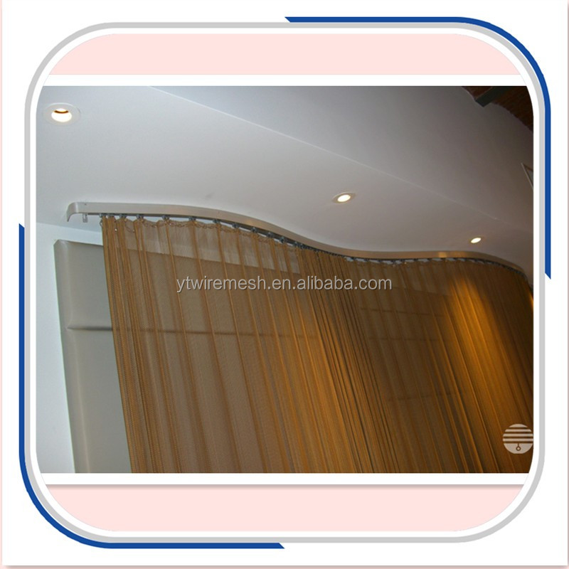 hanging metallic drapery for shower room partition wall