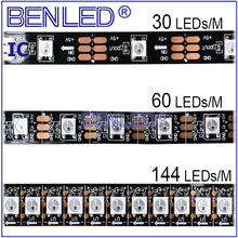 LED Bande Kit WS 2812B 5050 Pixel 10 MM DC 5 V IP67 adressable Ic Construit En Puce RVB Flexible LED WS2812B IC Bande lumière