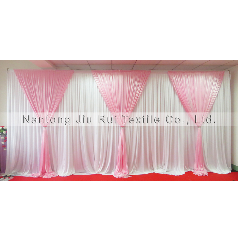 3m*6m Ice Silk Pink and White New Design Wedding Backdrop Wedding Drape