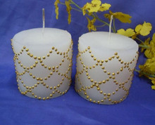 Golden line printed Decorative Christmas taper candles