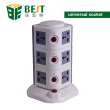 BEST- Multi Vertical USB Plug Socket Electrical Power Sockets with 12 Gang