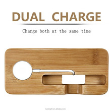 Hot 100% Bamboo Wood Multi-device Charging Station phone stand and Dock - Charges for phone devices holder mobile charge station