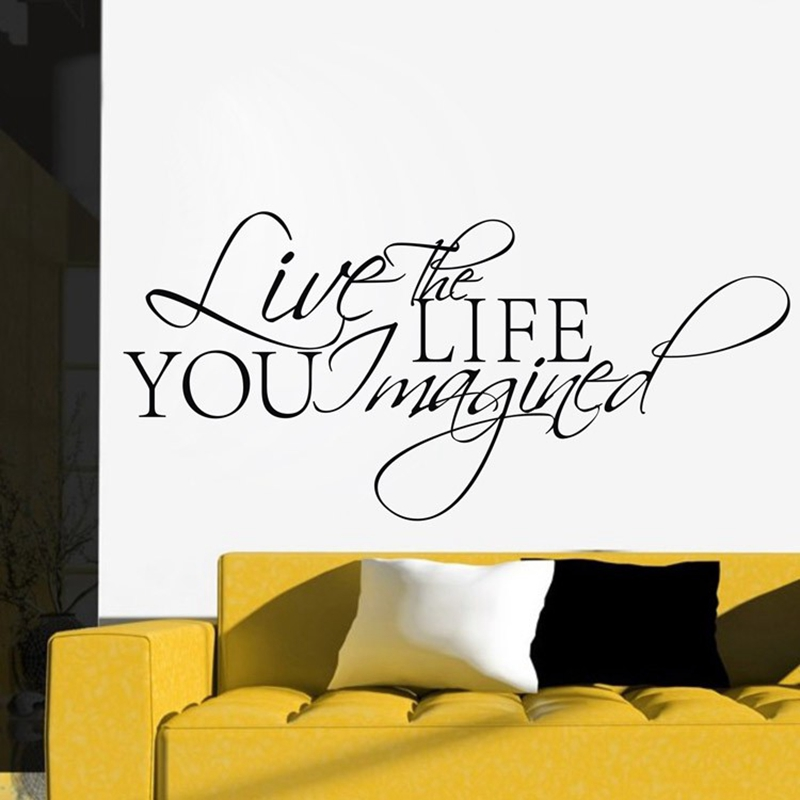 shipping live the life you imagined quote saying wall sticker