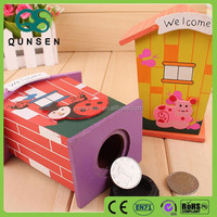DIY wooden house money saving box