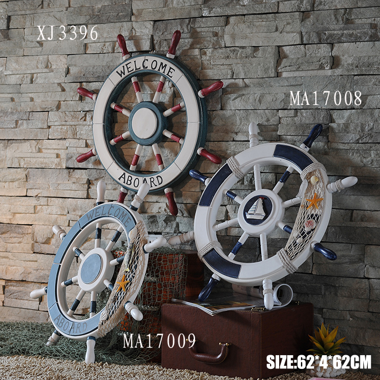 mediterranean style wooden ship wheel home wall decoration