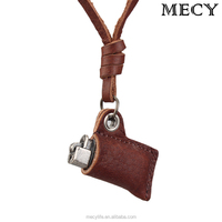 MECY LIFE vintage lighter shape fashion leather necklace wholesale