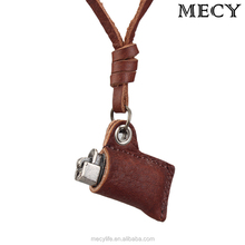 MECYLIFE vintage lighter shape fashion leather necklace wholesale