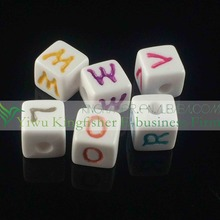 12mm white beads mix colored letters acrylic alphabet beads, Eco-friendly materials plastic cube alphabet beads.