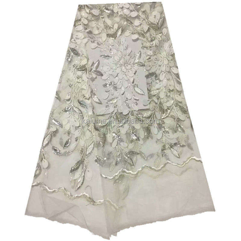 Sequin Embroidery Velvet Fabric Sequin And Beaded Tulle Fabric White Sequin Lace Fabric 760