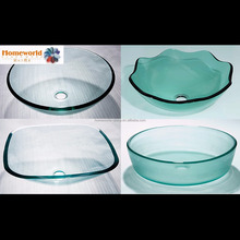 "12"" simple square green glass sink from China factory"