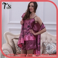 Fashion Women Silk Robes Printed Grace Nightgown For Summer