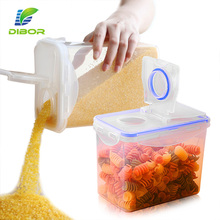 Kitchen Plastic Dry Food Dispenser Box Cereal Nuts Rice Beans Storage Container With Flip Lid