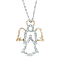 Sterling Silver AAA Zircon Angel Charm Necklace Jewellery