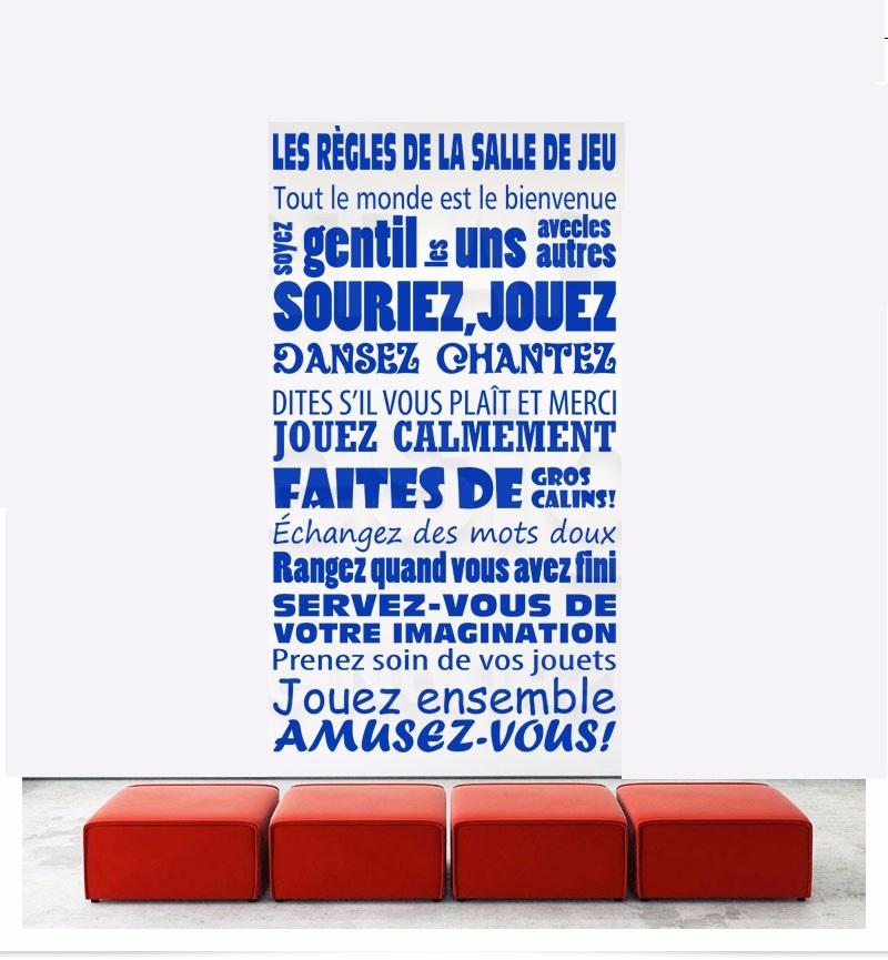 R gles de la salle de jeux fran ais quote wall sticker for Collant mural francais
