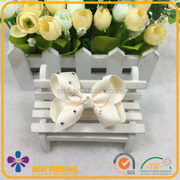 New Arrival 3 Inch Solid Ivory Color Kids Rhinestone Ribbon Hair Bow Alligator Clip Wholesale