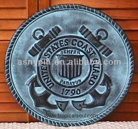 US Coast Guard Plaque Double Anchors Shield Medal Sign