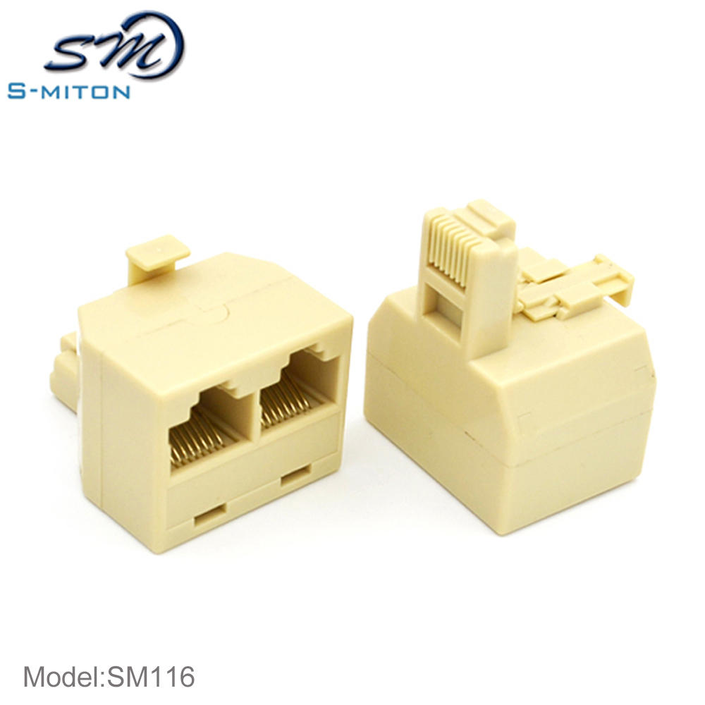Superior quality rj45 plug to rj 45 modular <strong>1</strong> male to 2 female network extension adapter