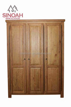 New design solid oak bedroom furniture 3 door full hanging wardrobe