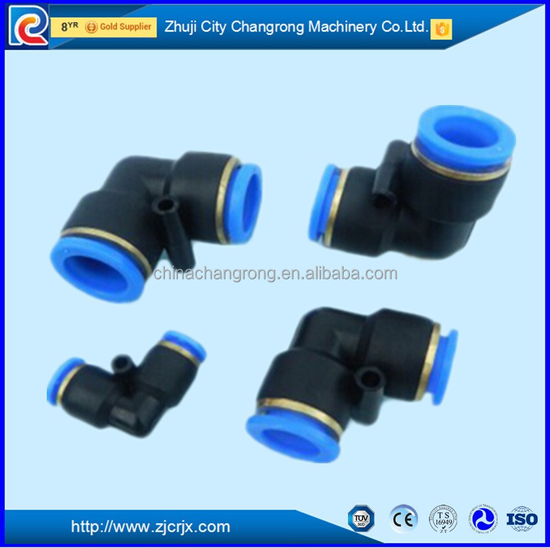 Free sample black straight & tee plastic quick push fit connector plastic pipe quick connector