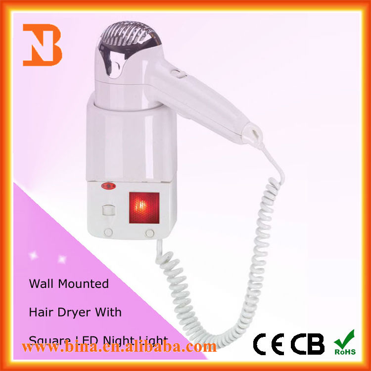 White Wall Mounted Hairdryer With LED