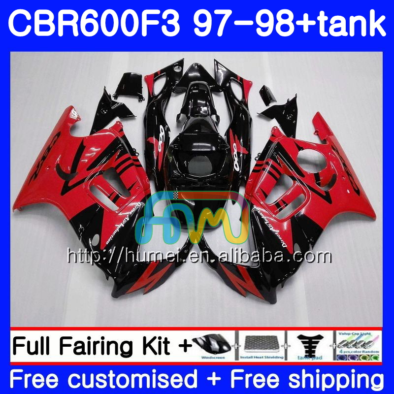 Body kit For HONDA CBR600RR F3 CBR 600F3 CBR600FS 14HM50 Red black CBR 600 F3 FS CBR600F3 97 98 CBR600 F3 1997 1998 Fairing