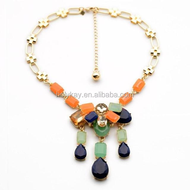 2014 new fashion jewelry accessories mix color stones fringe necklace for women neck