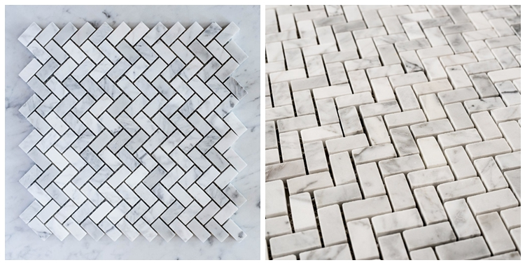 Decorstone24 Gray Vein White Carrara Marble Herringbone Backsplash Wall Tile Floor Tile
