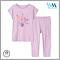 Manufacturer grid pants casual 100 cotton purple pajamas set