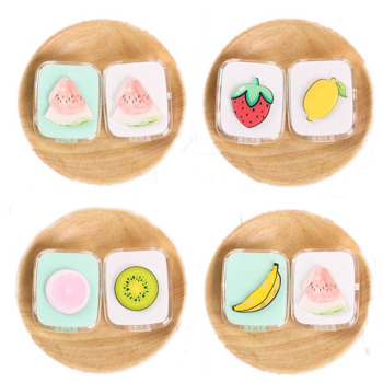 Beautuful new design lovely fruits pattern contact lens case with mirror
