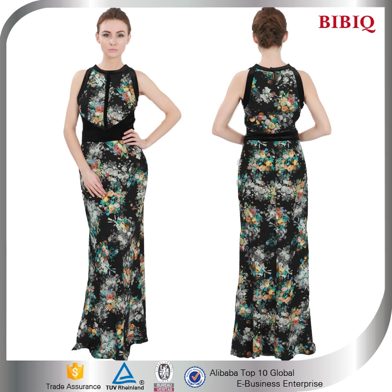 New Fashion Round Neck Sleeveless Floral Printed Long Dress Evening Gowns