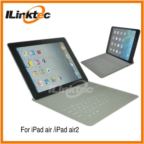 Ultra thin bluetooth PU leather keyboard for ipad air 2 keyboard case