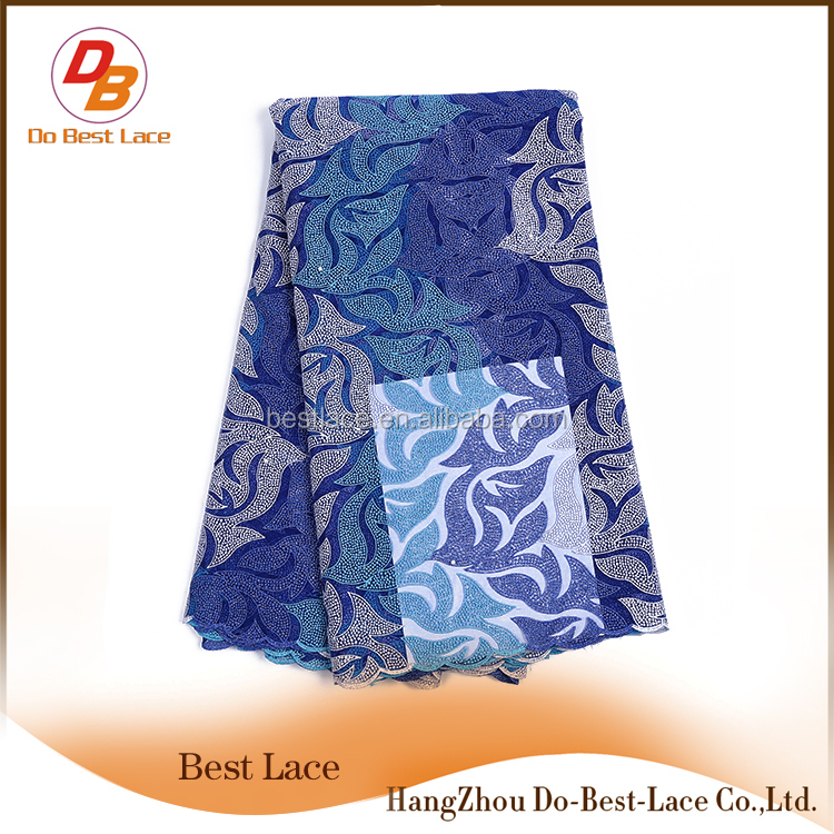 High quality royal blue swiss lace guangzhou african embroidery fabric for evening dress