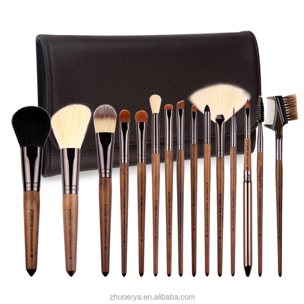 New Brown PU Leather Bag 15pcs make up brushes private label Makeup Brush set
