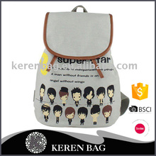 China custom fashion canvas cartoon cute girls vintage school bag