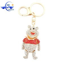 2015 Factory Wholesale Keychains Crystal Rhinestone Teddy Bear Shape Floating Souvenir Keychain