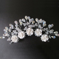 Hot Sale Handmade Crystal Beads and Resin Flower Bridal Wedding Hair Tiaras Red And White Can Choose