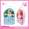 Custom 11 inch lifelike cotton baby doll 4 sounds IC with schoolbag.