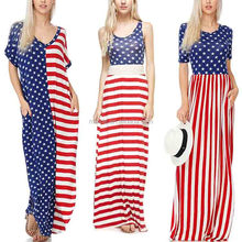 Custom printed spandex fabric Red & Blue Stars & Stripes American Flag Wholesale Maxi Dresses