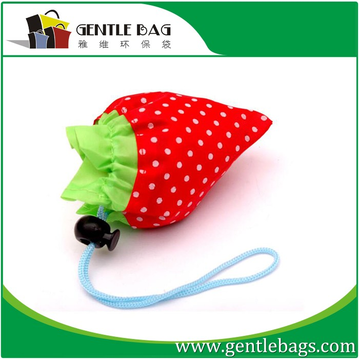 Strawberry Rose Flower Foldable Shopping Tote Reusable Bag