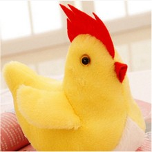 Cartoon big yellow pink red rooster pillow animals stuffed plush toy