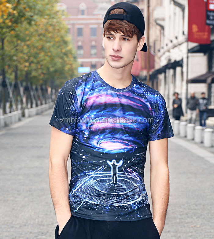 Customized security creative 3D printed sublimation t-shirt for rock men