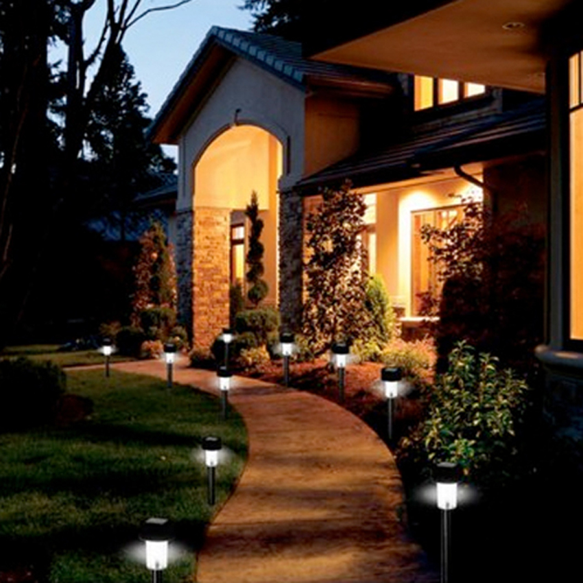 new 24pcs led outdoor garden path lighting landscape solar light. Black Bedroom Furniture Sets. Home Design Ideas
