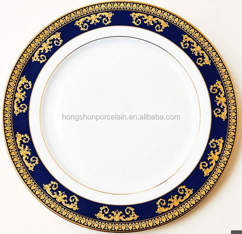 "10.5""/9""/7.5"" round Excellent houseware good fine porcelain custom made wholesale restaurant dinner plates , gold printing"