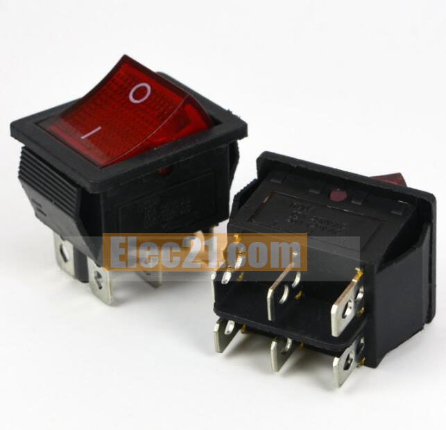Rocker boat Switch KCD4 15A 250V 6Pins 2Files 2*3Pins with LED red